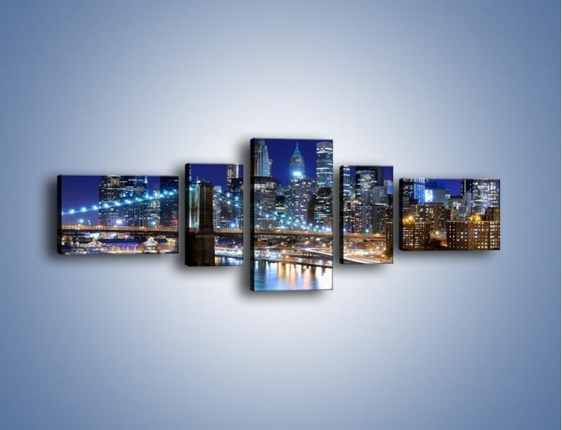 Obraz na płótnie – Nocne światła Nowego Yorku – pięcioczęściowy AM726W6