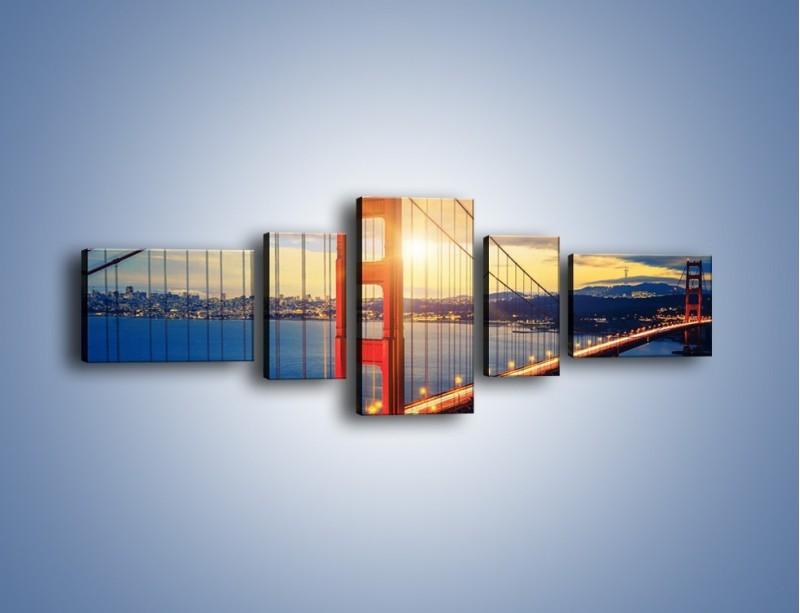 Obraz na płótnie – Zachód słońca nad Mostem Golden Gate – pięcioczęściowy AM738W6