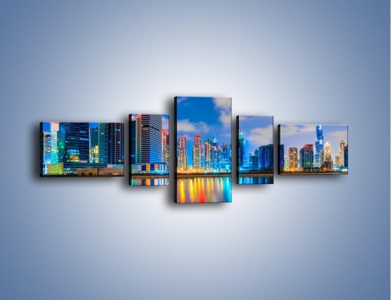 Obraz na płótnie – Kolory Dubaju odbite w wodzie – pięcioczęściowy AM740W6