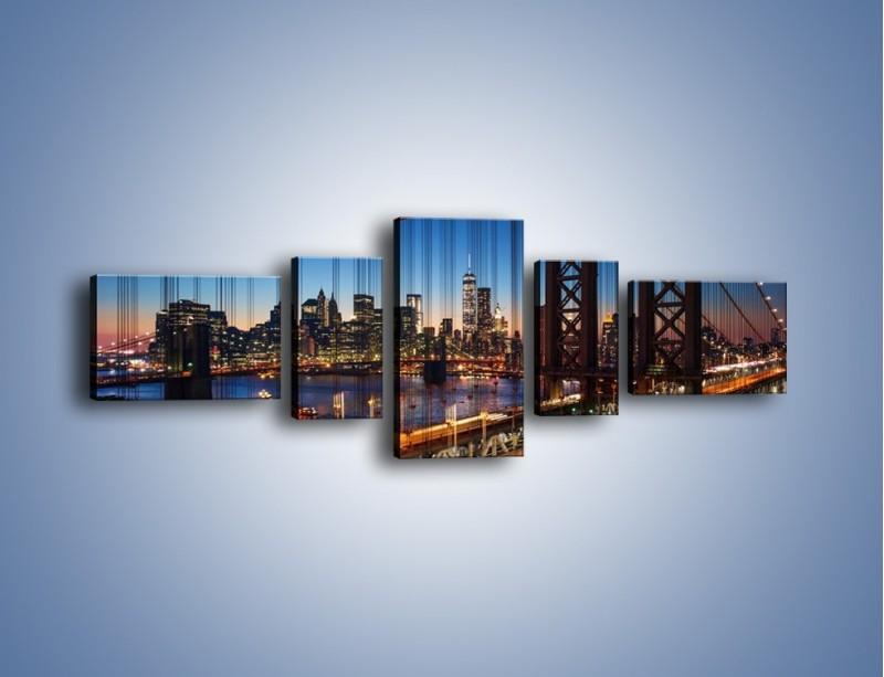 Obraz na płótnie – Nowojorskie mosty na tle Manhattanu – pięcioczęściowy AM751W6