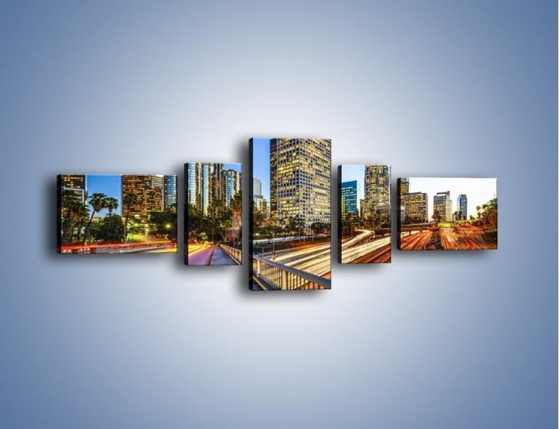 Obraz na płótnie – Światła Los Angeles o zmierzchu – pięcioczęściowy AM753W6