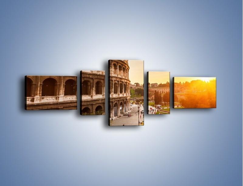 Obraz na płótnie – Zachód słońca nad Rzymem – pięcioczęściowy AM763W6