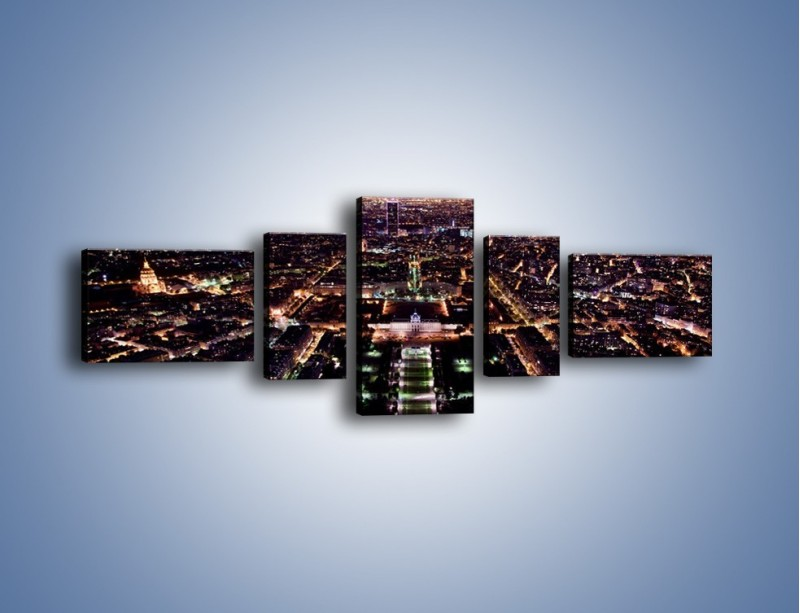 Obraz na płótnie – Panorama Paryża z Wieży Eiffla – pięcioczęściowy AM764W6