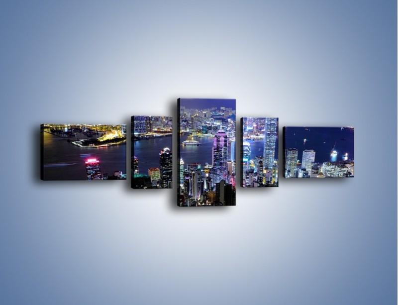 Obraz na płótnie – Nocna panorama Hong Kongu – pięcioczęściowy AM772W6