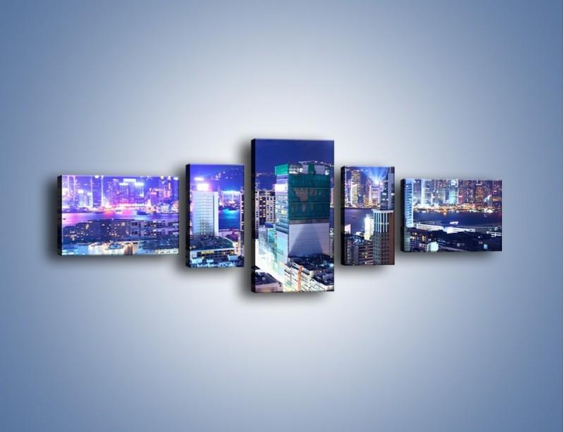 Obraz na płótnie – Pokaz laserów nad Hong Kongiem – pięcioczęściowy AM796W6