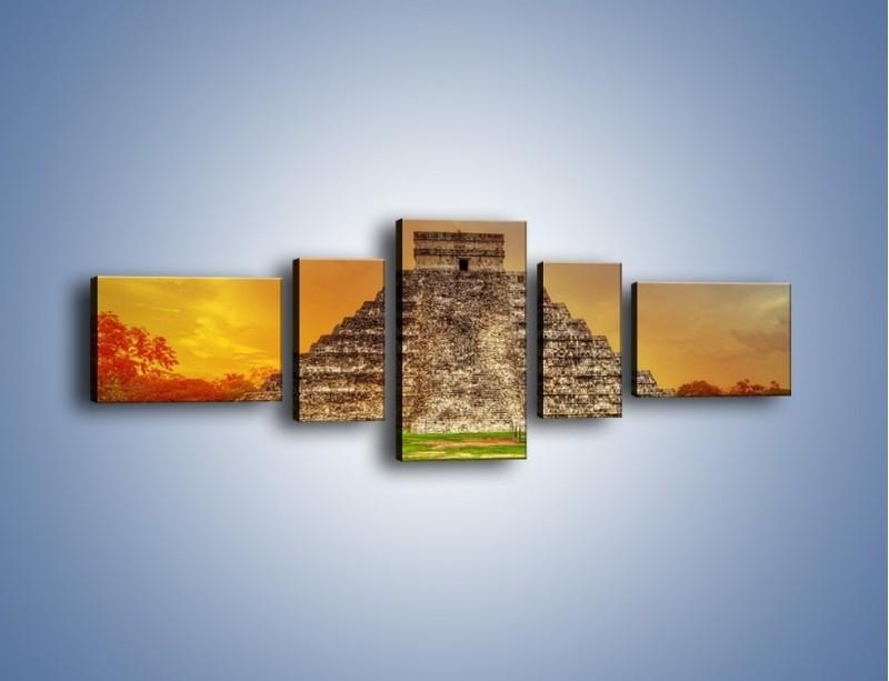 Obraz na płótnie – Piramida Kukulkana w Meksyku – pięcioczęściowy AM814W6