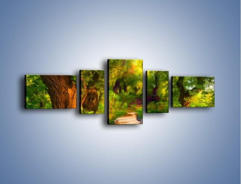 Obraz na płótnie – Drewniana kładka przez las – pięcioczęściowy GR007W6