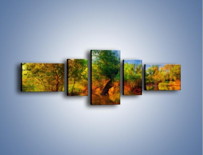 Obraz na płótnie – Drzewa w wodnym lustrze – pięcioczęściowy GR010W6