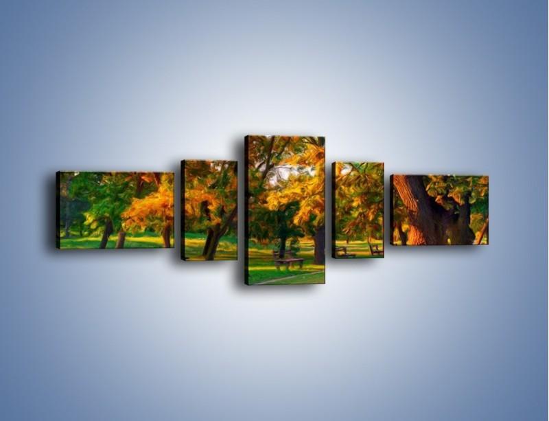 Obraz na płótnie – Ławeczka w parku – pięcioczęściowy GR011W6