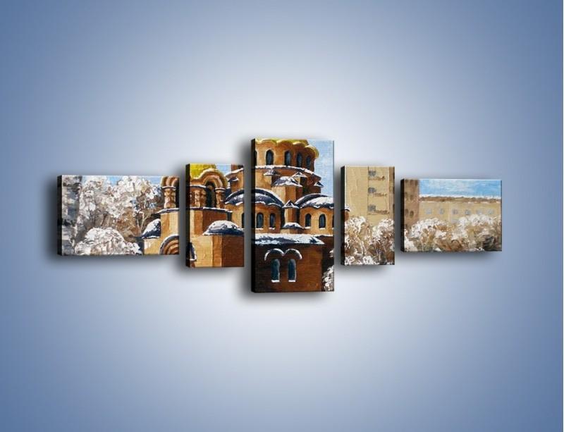 Obraz na płótnie – Cerkiew w trakcie zimy – pięcioczęściowy GR024W6