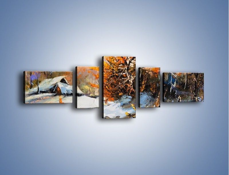 Obraz na płótnie – Zimowy klimat na wsi – pięcioczęściowy GR027W6