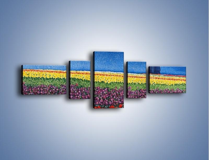 Obraz na płótnie – Spacer przez kolorowe maki – pięcioczęściowy GR049W6