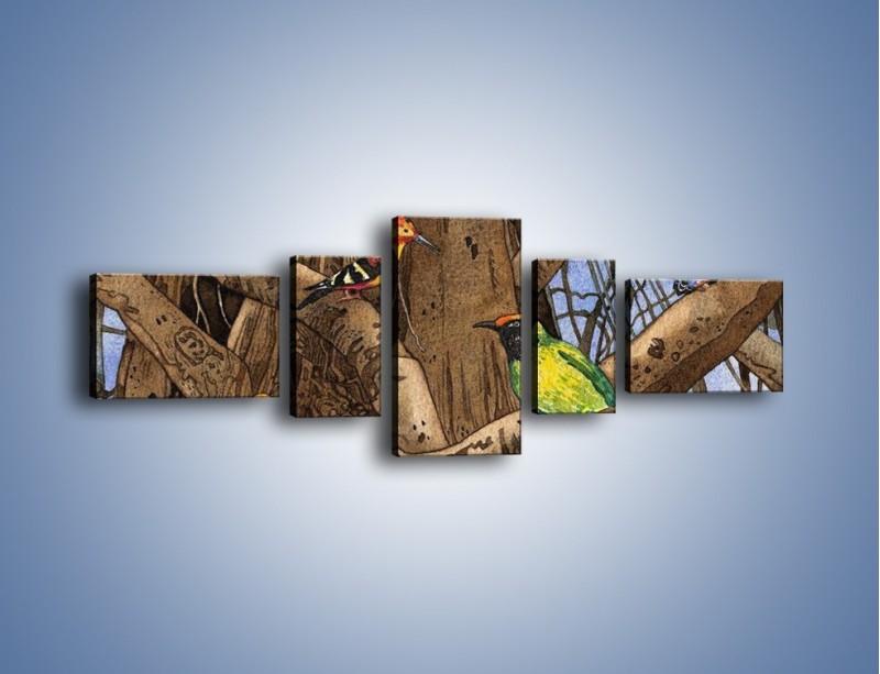 Obraz na płótnie – Mali przyjaciele na drzewie – pięcioczęściowy GR050W6