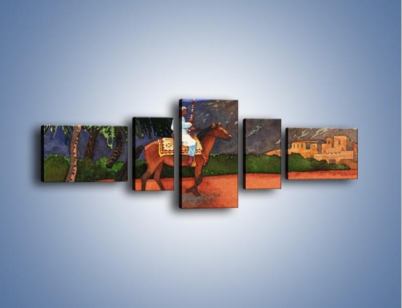 Obraz na płótnie – Arabski szejk na koniu – pięcioczęściowy GR052W6