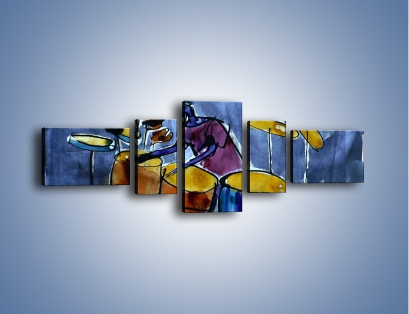 Obraz na płótnie – Gorące rytmy wybite na bębnach – pięcioczęściowy GR070W6