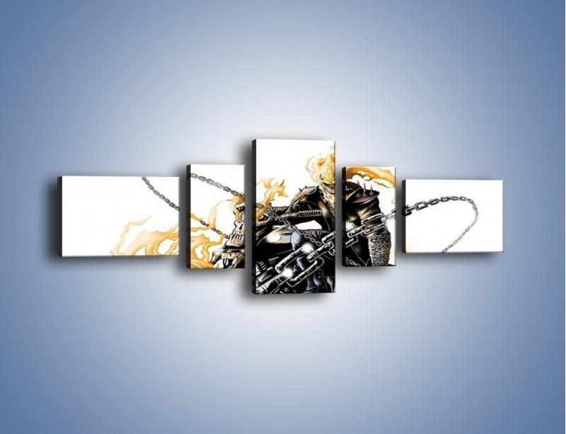 Obraz na płótnie – Mroczna postać na motorze – pięcioczęściowy GR167W6
