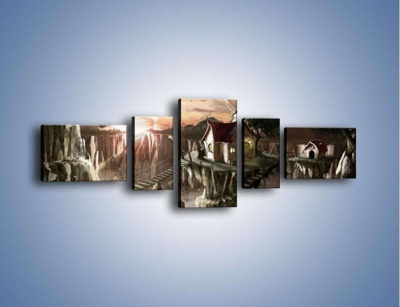 Obraz na płótnie – Domki nad przepaścią – pięcioczęściowy GR283W6