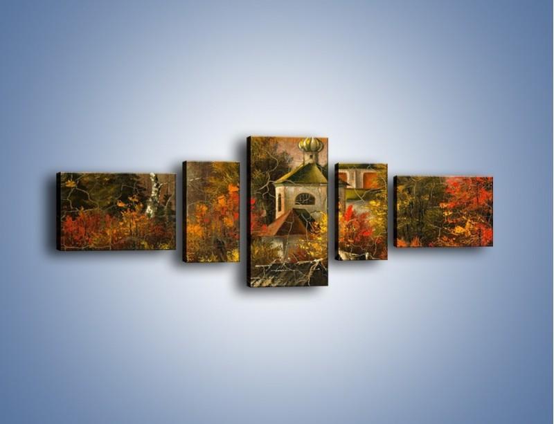 Obraz na płótnie – Kaplica późną jesienią – pięcioczęściowy GR369W6