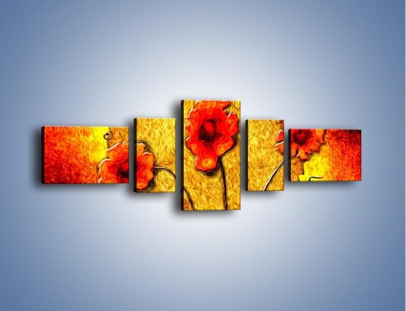 Obraz na płótnie – Maki w ogniu – pięcioczęściowy GR572W6