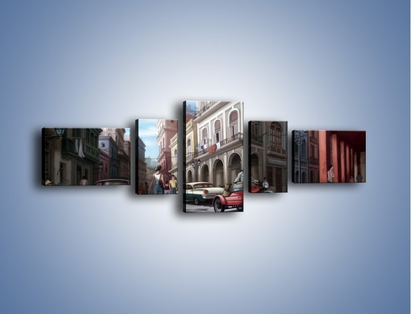 Obraz na płótnie – Codzienne życie na kubie – pięcioczęściowy GR627W6