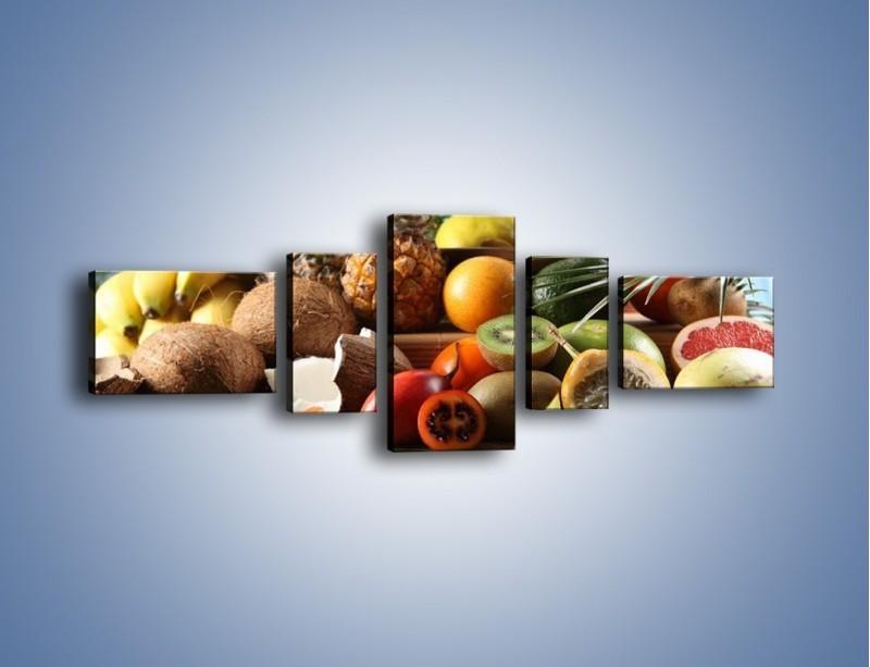 Obraz na płótnie – Mix owocowy na drewnianym stole – pięcioczęściowy JN009W6