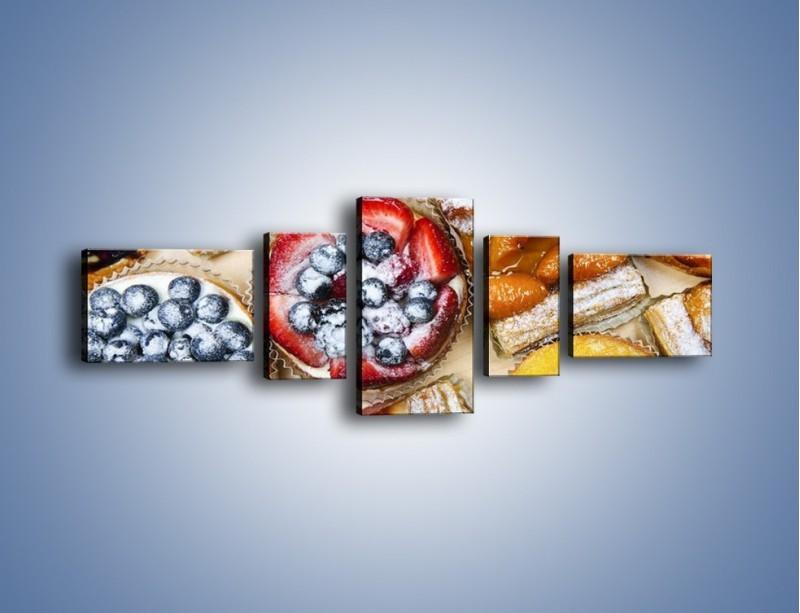 Obraz na płótnie – Kolorowe wypieki z dodatkiem owoców – pięcioczęściowy JN032W6