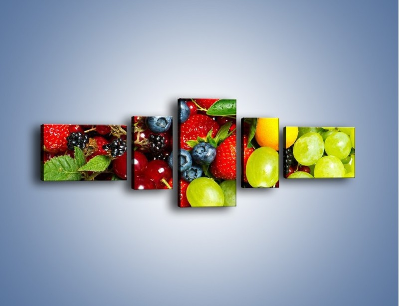 Obraz na płótnie – Wymieszane kolorowe owoce – pięcioczęściowy JN037W6
