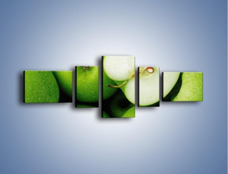 Obraz na płótnie – Zielone jabłuszka – pięcioczęściowy JN039W6