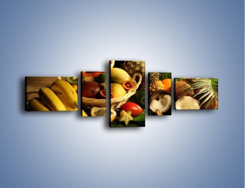 Obraz na płótnie – Kosz egzotycznych owoców – pięcioczęściowy JN074W6