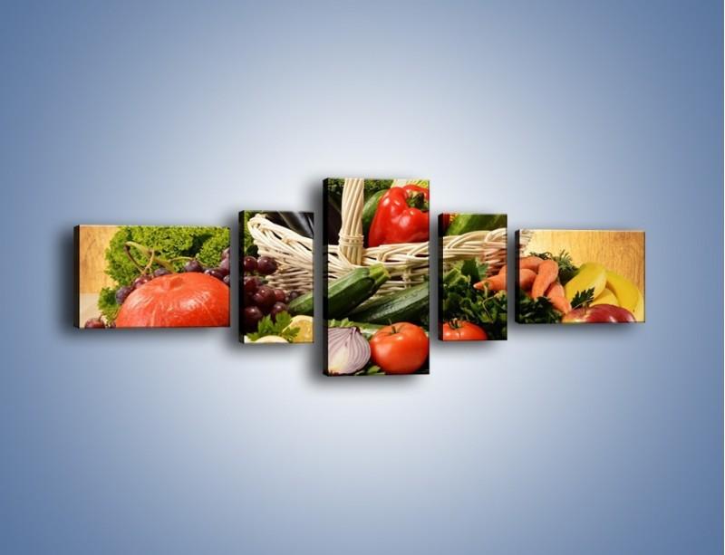 Obraz na płótnie – Kosz pełen warzywnych witamin – pięcioczęściowy JN081W6