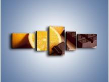 Obraz na płótnie – Czekoladowo-pomarańczowa rozkosz – pięcioczęściowy JN094W6