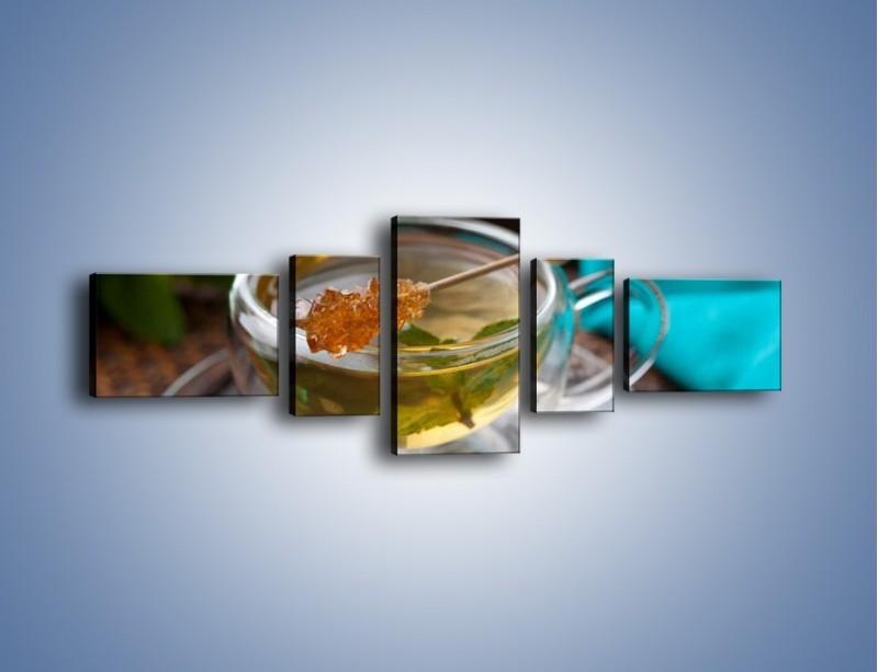 Obraz na płótnie – Oczyszczająca zielona herbata – pięcioczęściowy JN104W6
