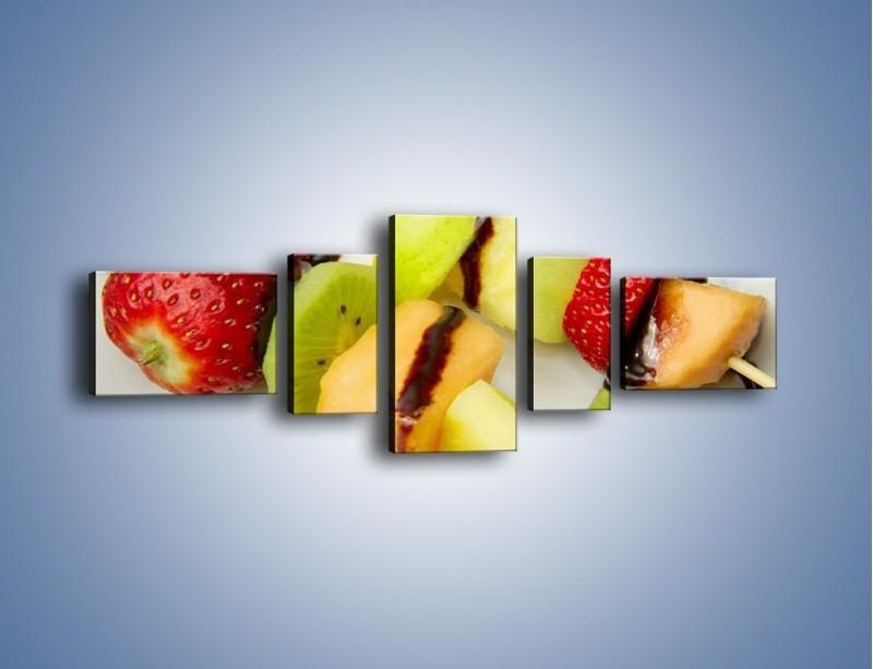 Obraz na płótnie – Czekoladowo-owocowe szaszłyki – pięcioczęściowy JN112W6