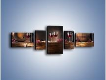 Obraz na płótnie – Beczuszki czerwonego wina – pięcioczęściowy JN142W6