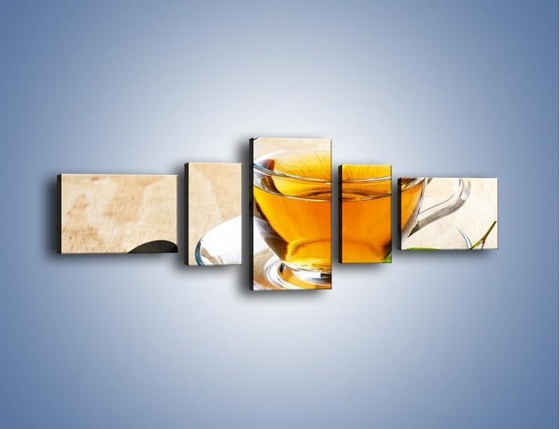 Obraz na płótnie – Listek mięty dla orzeźwienia herbaty – pięcioczęściowy JN290W6