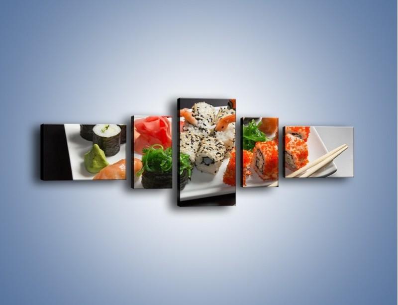 Obraz na płótnie – Kuchnia azjatycka na półmisku – pięcioczęściowy JN295W6