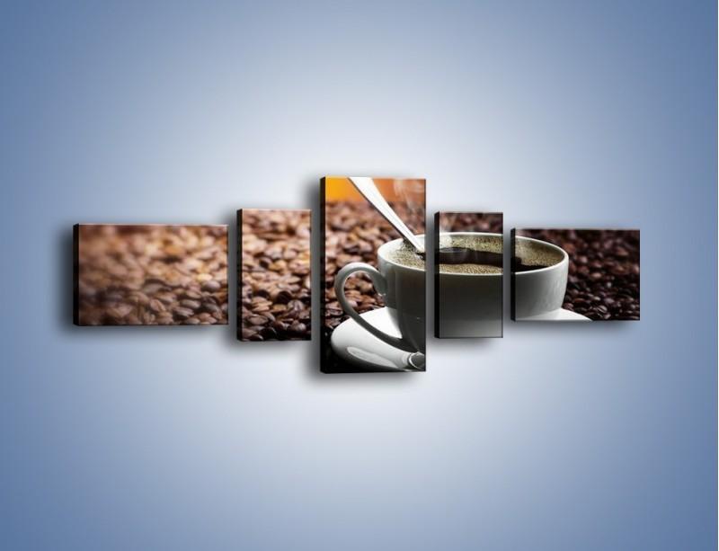 Obraz na płótnie – Aromatyczna filiżanka kawy – pięcioczęściowy JN298W6