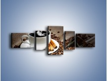Obraz na płótnie – Czarna palona kawa – pięcioczęściowy JN311W6