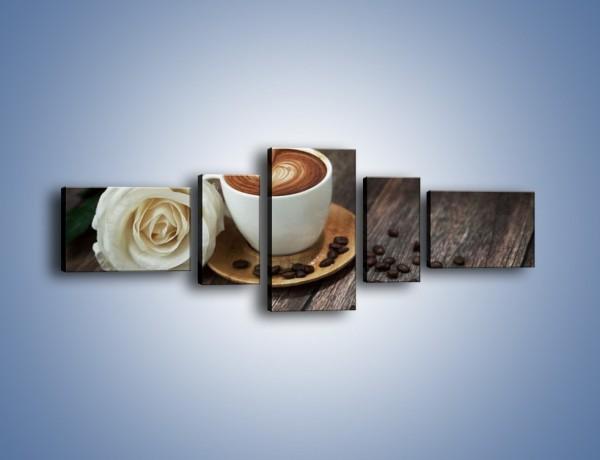 Obraz na płótnie – Kawa z różą – pięcioczęściowy JN319W6