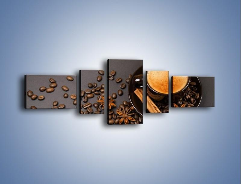 Obraz na płótnie – Kawa z goździkiem – pięcioczęściowy JN349W6