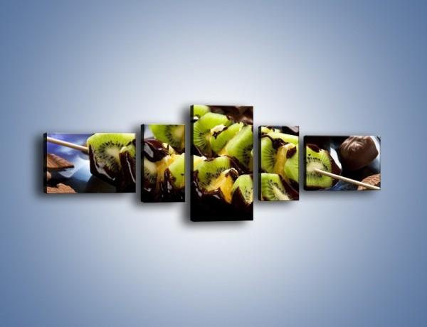 Obraz na płótnie – Owocowe szaszłyki dla dzieci – pięcioczęściowy JN352W6