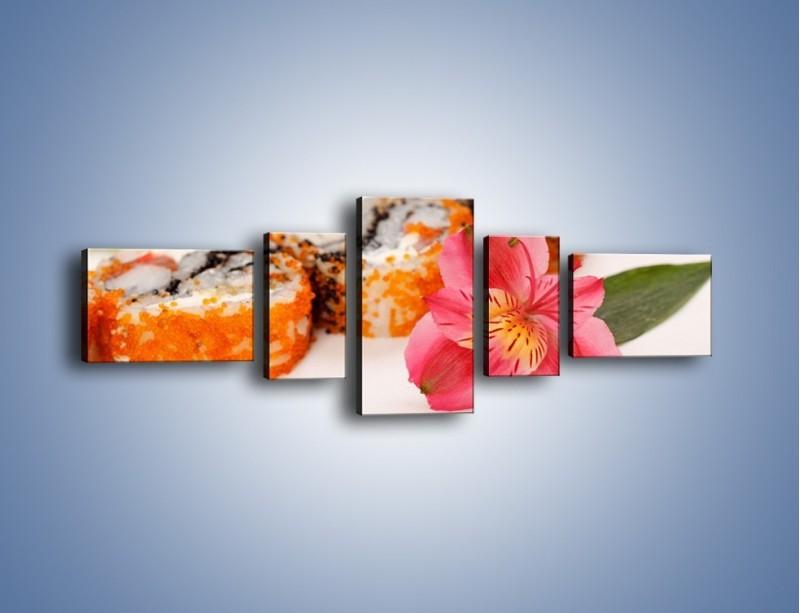 Obraz na płótnie – Sushi z kwiatem – pięcioczęściowy JN354W6