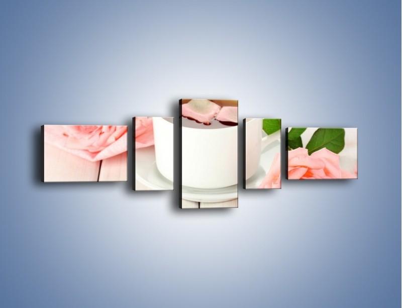 Obraz na płótnie – Herbata wśród róż – pięcioczęściowy JN369W6