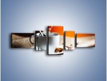 Obraz na płótnie – Aromatyczny zapach kawy – pięcioczęściowy JN374W6