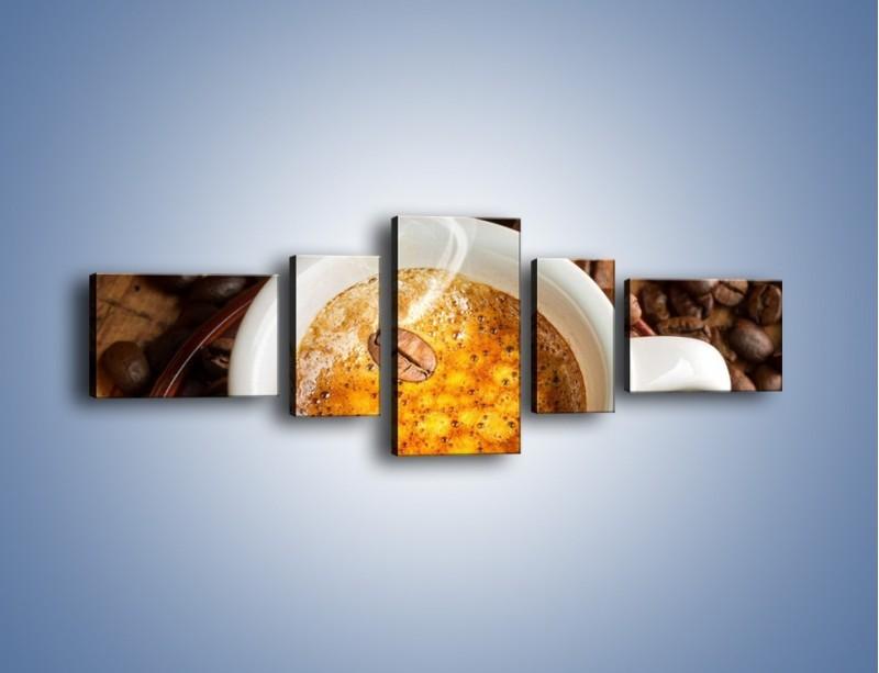 Obraz na płótnie – Ziarna zatopione w kawie – pięcioczęściowy JN416W6
