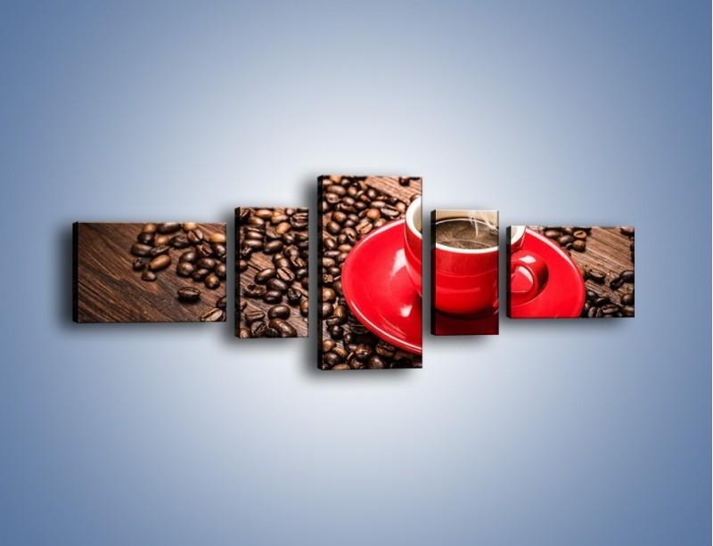 Obraz na płótnie – Kawa w czerwonej filiżance – pięcioczęściowy JN441W6
