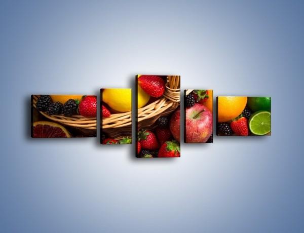 Obraz na płótnie – Kosz zatopiony w owocach – pięcioczęściowy JN635W6