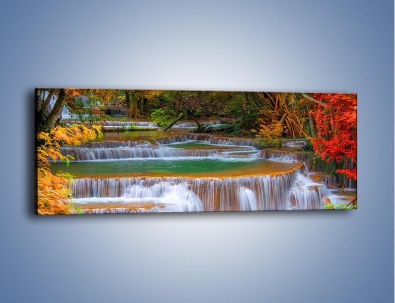 Obraz na płótnie – Schodki z wodospadów – jednoczęściowy panoramiczny KN287