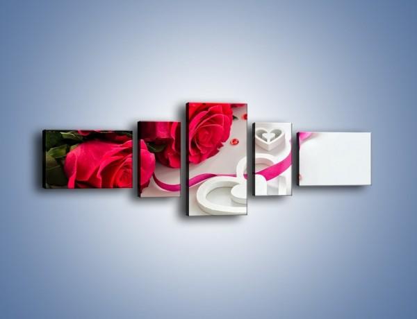 Obraz na płótnie – Róża z miłosnym przekazem – pięcioczęściowy K1011W6