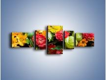 Obraz na płótnie – Bukiet pełen soczystych kolorów – pięcioczęściowy K461W6